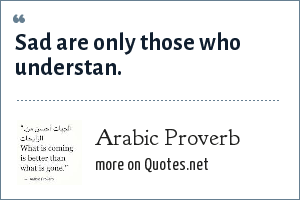 Arabic Proverb: Sad are only those who understan.