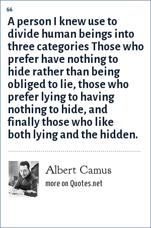 Albert Camus: A person I knew use to divide human beings into three categories Those who prefer have nothing to hide rather than being obliged to lie, those who prefer lying to having nothing to hide, and finally those who like both lying and the hidden.