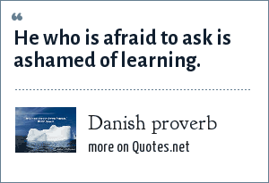 Danish proverb: He who is afraid to ask is ashamed of learning.