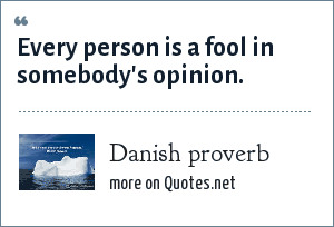 Danish proverb: Every person is a fool in somebody's opinion.