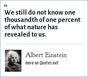 Albert Einstein: We still do not know one thousandth of one percent of what nature has revealed to us.