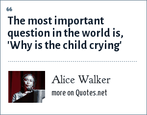 Alice Walker: The most important question in the world is, 'Why is the child crying'