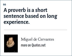Miguel de Cervantes: A proverb is a short sentence based on long experience.